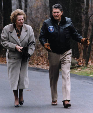 President Ronald Reagan and Prime Minister Margaret Thatcher at Camp- David, 1986